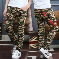Boys Army Cargo Combat 100% Cotton School Jogging Pants Kids Camouflage Trousers