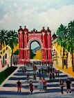 """Original oil painting Barcelona without frame size 9x7"""" (24x18 cm) canvas board"""