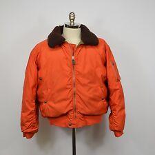 Vtg RALPH LAUREN Polo Down Flight Bomber JACKET Shearling Collar / XL Orange