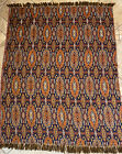 Marrakesh Tablecloth Hand Knotted Fringe Floor Mat• Space Rug•Bedspread•Blue EUC
