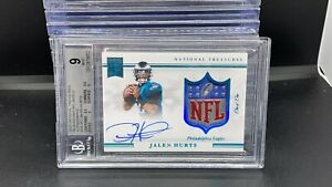 2020 National Treasures Jalen Hurts # 1/1 NFL Shield Rookie Patch Auto BGS 9 BN