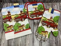 5 Pc Red Truck Apples Farm Rooster Kitchen Set Dish Towels Oven Mitt Pot Holders