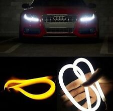 1 NEON AUDI TUBE 60CM Car Bike WHITE+AMBER Flexible LED Strip DAYTIME LIGHT DRL