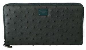 DOLCE & GABBANA Wallet Green Ostrich Leather Continental Mens Clutch