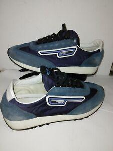 PRADA 2EG276 BLUE SUEDE MULTI NYLON STRIPE LOGO SNEAKERS Size ITALY 7 USA 8