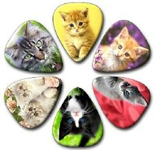6 x CATS ~ KITTENS  Guitar Picks ~ Plectra Printed Both Sides