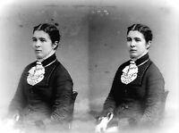 "ANTIQUE 8 x 5  GLASS PHOTO NEGATIVE -- 1860-1890 - A ""PROPER YOUNG LADY"""