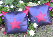 Western leather pillow set - 2 navy & red with inset stars