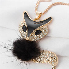 Betsey Johnson Fox Pendant Necklace in Black and Gold with Fur