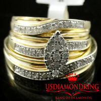 10k Yellow Gold His Her Diamond Wedding Engagement Bridal Trio Ring Set Marquise