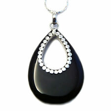 Black Onyx Pendant decorated with 925 Sterling Silver