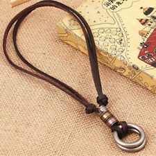 Mens Double Circle Ring Pendant Wild Vintage Leather LUS Cord Necklace Jewelry