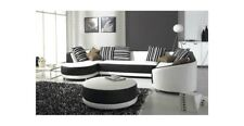 LOUNGE 5 FIVE SEATER GENUINE LEATHER SOFA SET CHAISE FREE OTTOMAN BRAND NEW