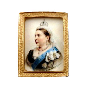 Melody Jane Dolls House Miniature Queen Victoria Portrait Picture in Gold Frame