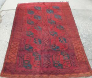 Vintage Turkoman Turkman Tribal Erasari Main Rug Oriental Carpet 6x8 Thick Pile