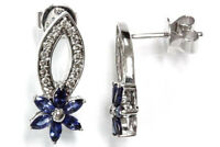 1.05 cttw Natural Blue Sapphire & Diamond 14k White Gold Flower Drop Earrings