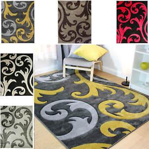 Flair Rugs Modern Elude Hand Carved Damask Design Softest Carpet Floor Rugs