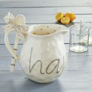 """Mud Pie E1 Home Happy Everything 9"""" x 11"""" Pitcher & Spoon 2pc Set 45500029"""