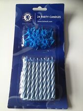 CHELSEA FC 24  PARTY CANDLES BRAND NEW SEALED, FREE POSTAGE BARGAIN !