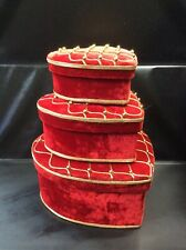 Valentine's Day Red and Gold Heart Shaped Gift Boxes Set of 3