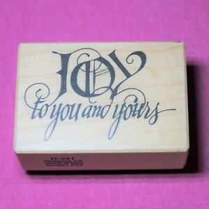 Vintage PSX Wooden Rubber Ink Stamp for Card Making, Joy to You and Yours, USA