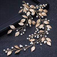 Wedding Bridal Vintage Gold Leaf Pearl Tiara Headpiece Hair Piece Vine Wire