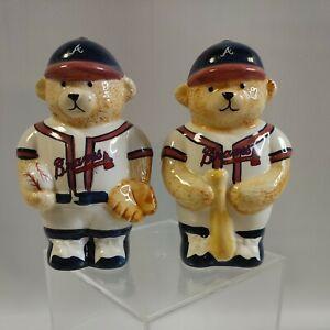 """Baseball Teddy Bear Atlanta Braves MLB Salt & Pepper Shakers 1998 4 1/2"""" tall"""
