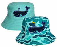 Kids Whale & Waves Design Bush Hat Boys Girls 100% Cotton Summer Sun Bucket Cap