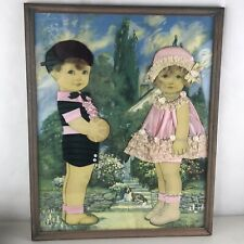 Vintage Framed Ribbon Dolls Art Boy Girl Queen Holden Mixed Media Human Hair