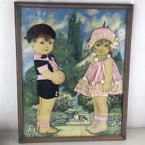 Vintage Framed Ribbon Dolls Art Boy Girl Queen Holden Mixed Media Human Hair