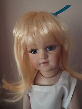 BUY I GET ONE FREE 11-12 inch ECONOMY DOLLS WIG IN APRICOT BLONDE WITH RIBBON
