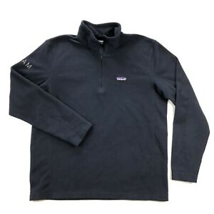 Patagonia Micro D Fleece Mens Large Navy Blue Mock Neck 1/4 Zip Pullover Sweater