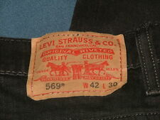 Men's Levi's 569 Straight Leg Loose Fit Denim Black Jeans Size 42 x 30
