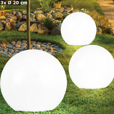 3er Set LED Solar Lampen Garten Weg Beleuchtung Erdspieß Kugel Hof Leuchten weiß