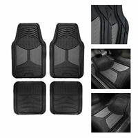 Black Gray 2 Tone Floor Mats for Car SUV Van All Weather Universal Fitment