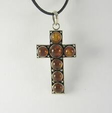 Ámbar Collar con cruz .925 Plata de Ley NARANJA Piedra Cristiano