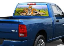 Art two tigers big cats Rear Window Decal Sticker Pick-up Truck SUV Car
