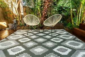200 cm x 270 cm POSITANO GREY Outdoor/Indoor Rug/Mat Waterproof