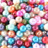 900 Mix Rund Acryl Perlen Beads Kunststoffperlen Kugeln Wachsperlen 8mm L/P