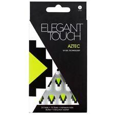 ELEGANT TOUCH 24 FULL COVER FALSE NAIL TIP WHITE GREEN BLACK NAILS TIPS AZTEC