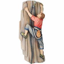 Dekofigur Kletterer an Felswand mit Seil aus Holz geschnitzt 20 cm