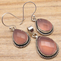 925 Silver Plated ROSE QUARTZ & Other Gemstone Earrings & Pendant SET Jewelry