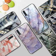 Tempered Glass Case for Samsung Galaxy A70 Protective Marble TPU Back Cover Skin