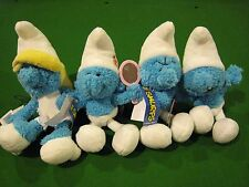 "THE SMURFS 8"" BEANBAG PLUSH Vanity Smurfette Grouchy set of 4 NWT rare"