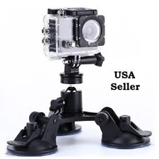 Tripod Mount Triple Suction Cup Car Windshield for GoPro DSLR SLR Cam Heavy Duty