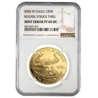 2004 W 1 oz $50 Proof Gold American Eagle NGC PF 69 Mint Error (Rev Struck Thru)