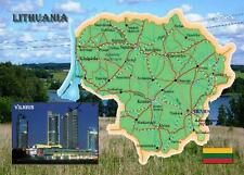 Lithuania Country Map Lietuvos New Postcard