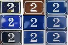 More details for old blue brown french house number 2 door gate wall plate enamel sign - pick
