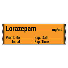 Tranquilizer Medication Label Tape LORAZEPAM__mg/mL 500 roll