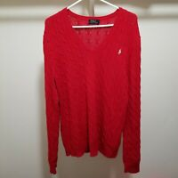Polo Ralph Lauren Mens Sweater XL Cable Knit V Neck Red Cotton Gold Pony Logo